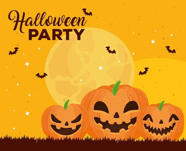 Gelukkige halloween-banner met het vliegen van pompoenen en vleermuizen Premium Vector