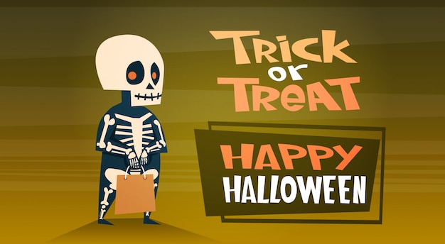 Gelukkige halloween-banner met leuke trick or treat van het beeldverhaalskelet Premium Vector