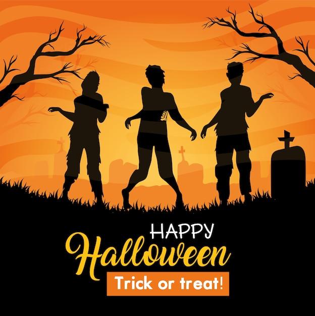Gelukkige halloween-banner met zombiesilhouet op begraafplaats Premium Vector