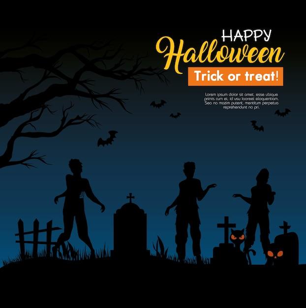 Gelukkige halloween-banner met zombiesilhouetten op begraafplaats Premium Vector