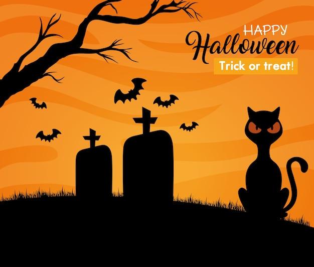 Gelukkige halloween-banner met zwarte kat, vleermuizen die op begraafplaats vliegen Premium Vector