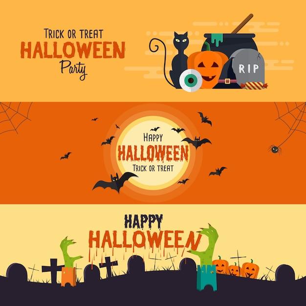 Gelukkige halloween-banners Premium Vector