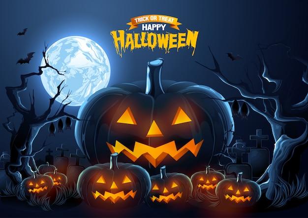 Gelukkige halloween-groet met pompoenen bij de nacht. Premium Vector
