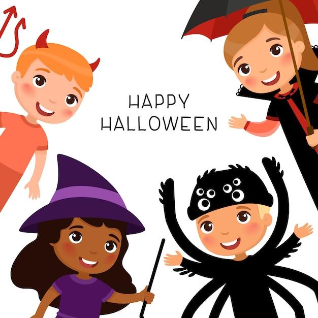 Gelukkige halloween-groetkaart met kinderen in griezelige monsterskostuums. vampire, demon, heks en spider stripfiguren. Premium Vector