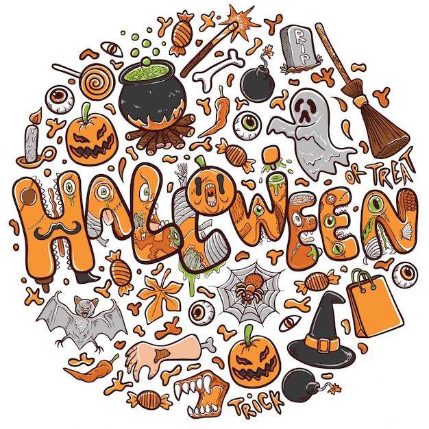 Gelukkige halloween-groetkaart of bannervakantieillustratie Premium Vector
