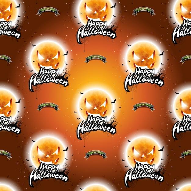 Gelukkige halloween naadloze patroon illustratie met maan enge gezichten op donkere oranje achtergrond. Premium Vector