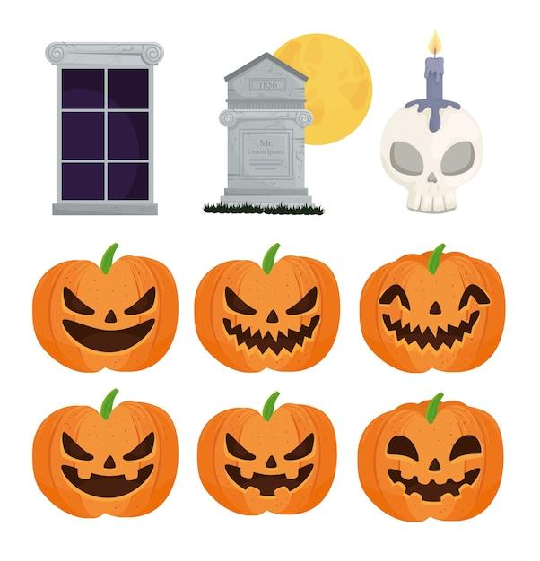 Gelukkige halloween-pictogrammen geplaatst decoratie Premium Vector