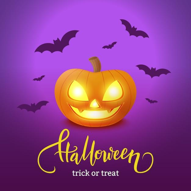 Gelukkige halloween-prentbriefkaar met pompoen Premium Vector