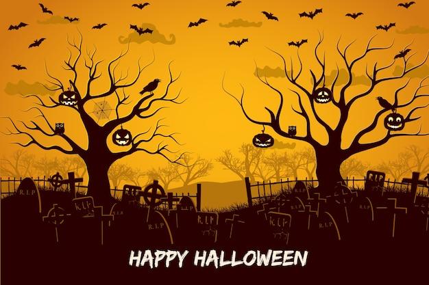 Gelukkige halloween-samenstelling met vogels en lantaarns bij bomenbegraafplaats en vliegende vleermuizen bij zonsondergang Gratis Vector