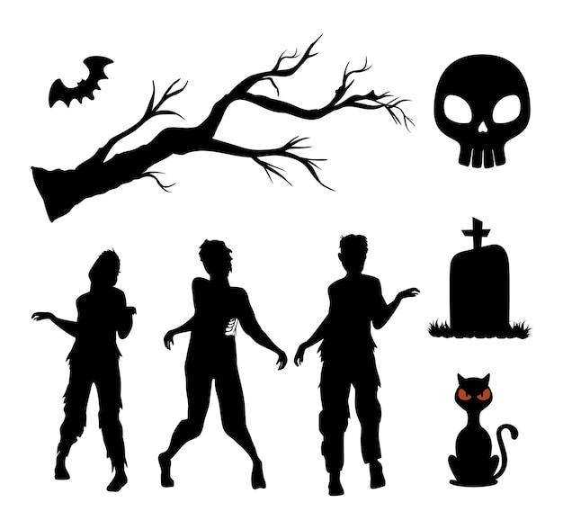 Gelukkige halloween-silhouetten geplaatst decoratie Premium Vector