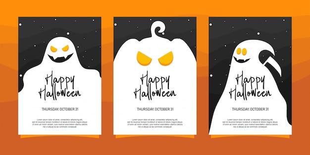Gelukkige halloween-uitnodigingenillustratie Premium Vector