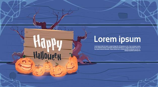 Gelukkige halloween-van de de pompoenen traditionele decoratie van de partijbanner de groetkaart Premium Vector