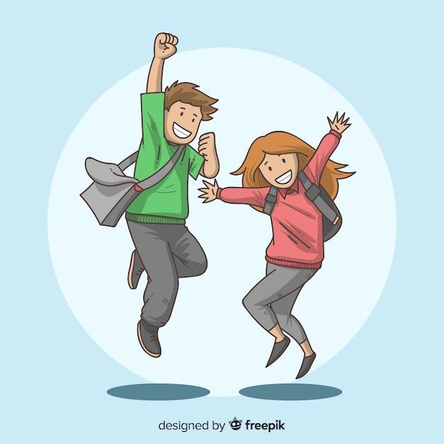 Gelukkige hand getrokken studenten springen Gratis Vector