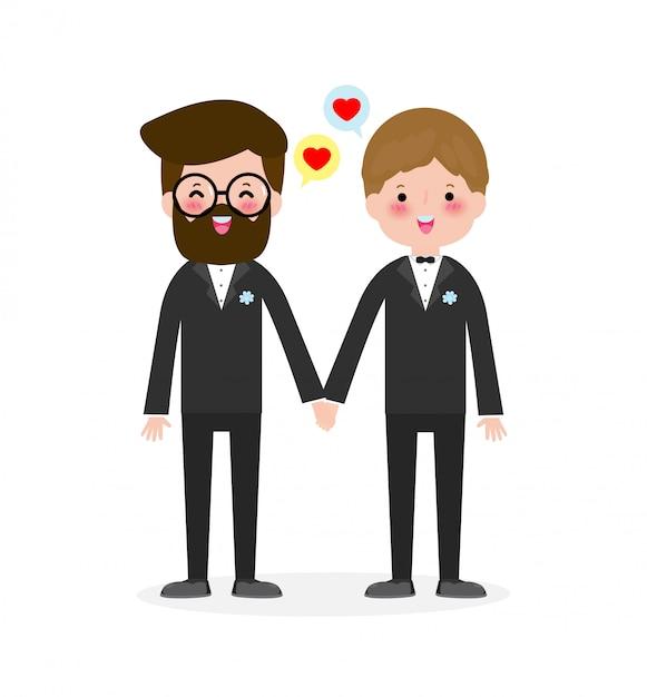 Gelukkige homo paar in bruiloft kleding en plat moderne stijl illustratie ontwerp illustraties geïsoleerd op een witte achtergrond. Premium Vector