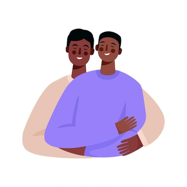 Gelukkige homoseksuele familie, homopaar. twee mannen omhelzen elkaar. Premium Vector