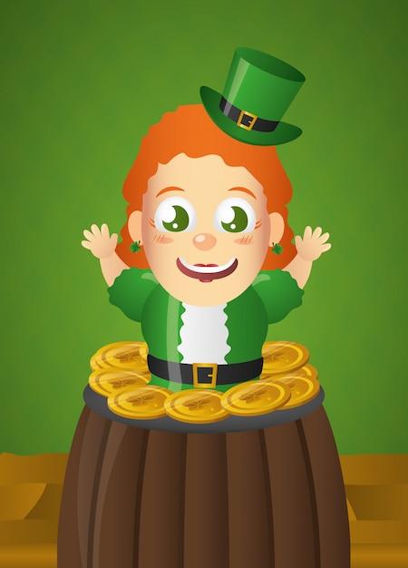 Gelukkige ierse kabouter met groene hoed in ketel, st patricks dag Gratis Vector