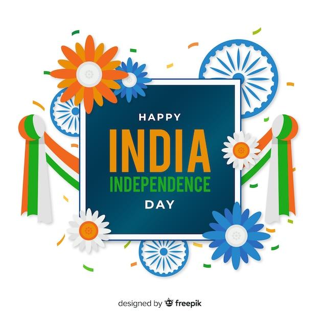 Gelukkige indische onafhankelijkheidsdag achtergrond Gratis Vector