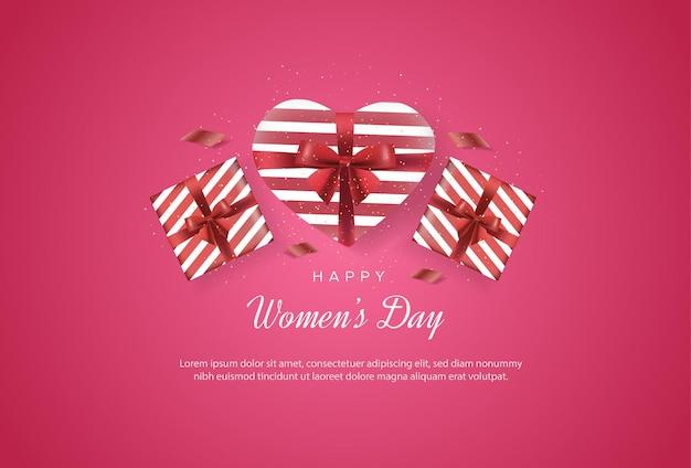 Gelukkige internationale vrouwendag met cadeaus die de liefde verzinnen Premium Vector
