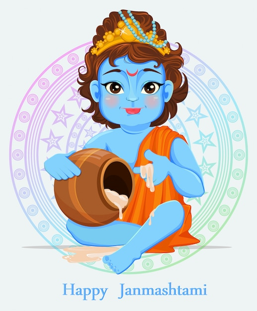 Gelukkige janmashtami. de geboorte van krishna vieren Premium Vector