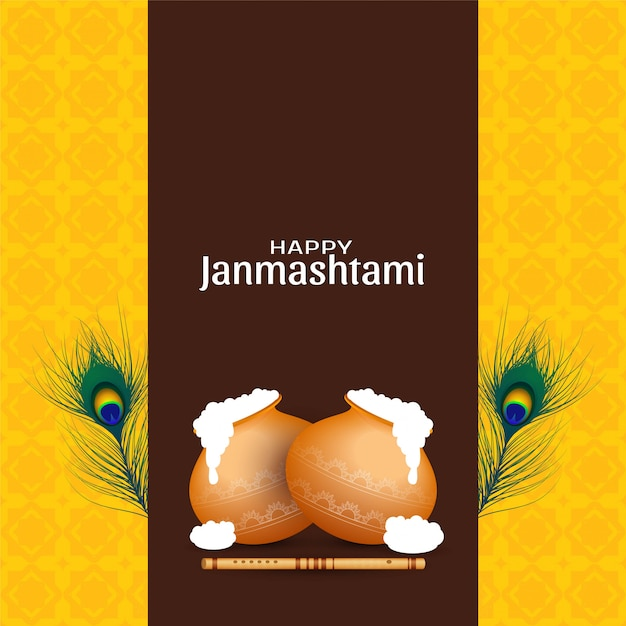 Gelukkige janmashtami-de groetachtergrond van de viering Gratis Vector
