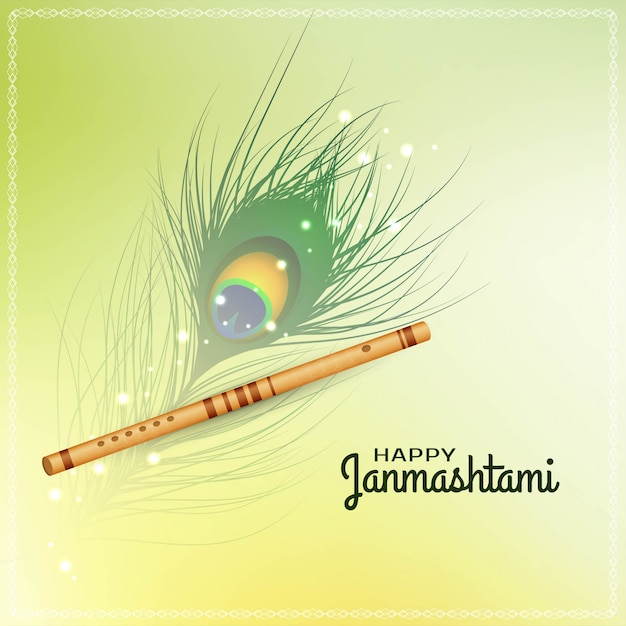 Gelukkige janmashtami-festivalachtergrond met fluit Premium Vector