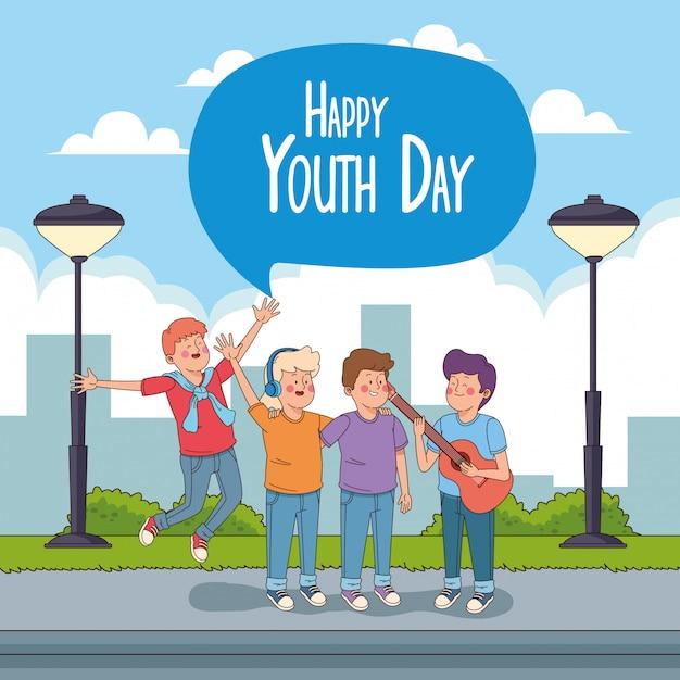 Gelukkige jeugd dag kaart met tieners cartoons Gratis Vector