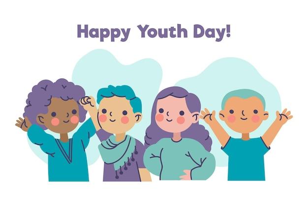 Gelukkige jeugddag met jongeren Gratis Vector