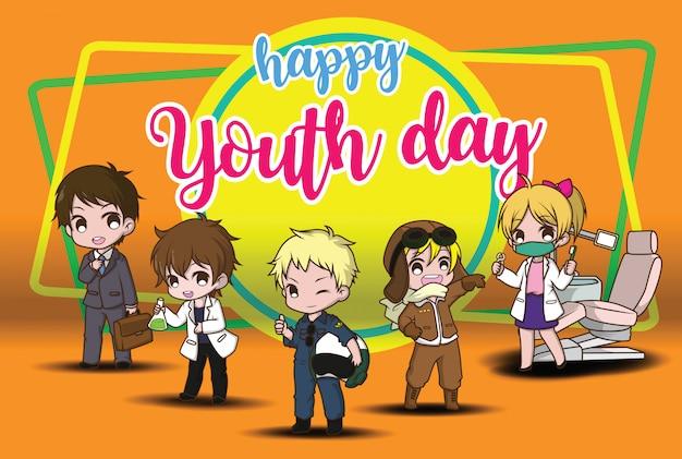 Gelukkige jeugddag Premium Vector