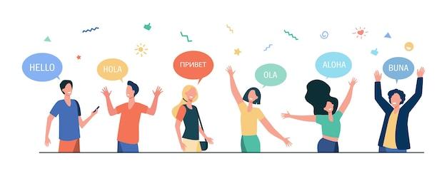 Gelukkige jonge mensen die hallo zeggen in verschillende talen. studenten met tekstballonnen en handen in groetgebaar. Gratis Vector