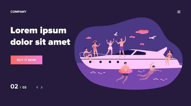 Gelukkige jonge mensen die van jachtcruise genieten. mannen en vrouwen zeilen, genieten van feest op luxe boot, zwemmen in zee. illustratie voor vakantie, reizen, zomer concept Premium Vector