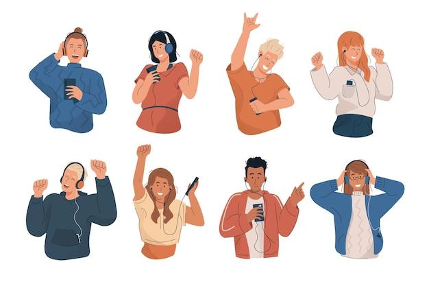 Gelukkige jonge mensen luisteren naar muziek en dansen met mp3-speler en smartphone Premium Vector