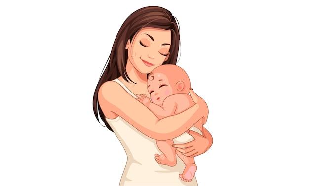 Gelukkige jonge moeder met haar kleine schattige baby Premium Vector