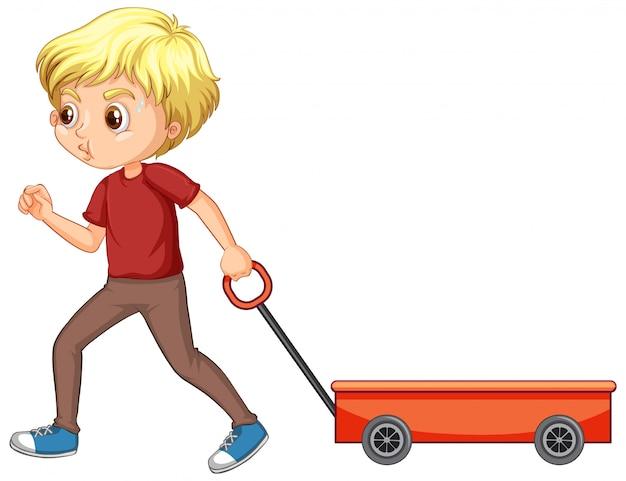 Gelukkige jongen die geïsoleerde wagen trekt Gratis Vector