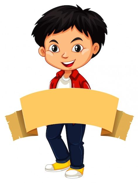 Gelukkige jongen en bruine banner Gratis Vector