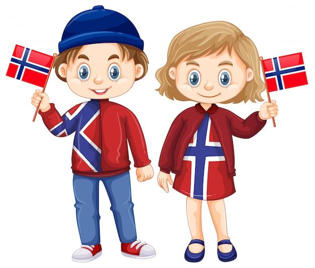 Gelukkige jongen en meisjesholdingsvlag van noorwegen Gratis Vector