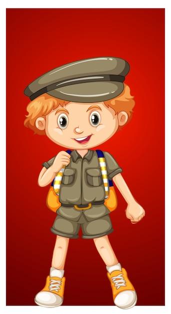 Gelukkige jongen in safarikostuum Gratis Vector