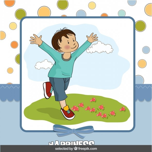 Gelukkige jongen op plakboekachtergrond Gratis Vector