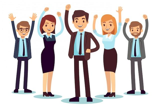 Gelukkige kantoormensen. succesvol bedrijfsman en vrouwen vectorkarakter Premium Vector