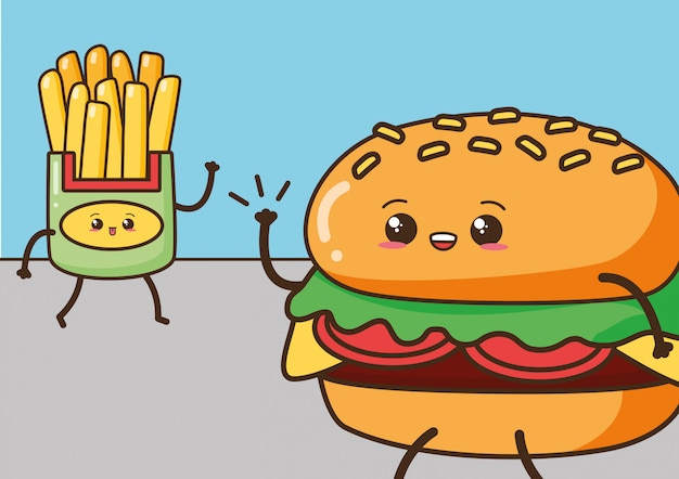 Gelukkige kawaii, frieten en hamburger, voedselontwerp, illustratie Gratis Vector