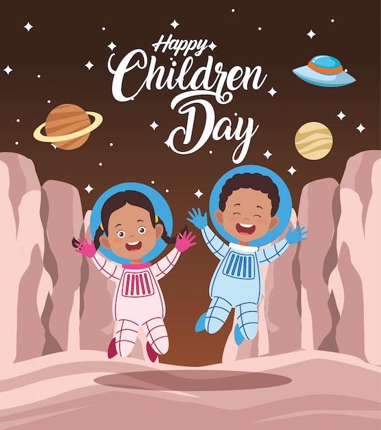 Gelukkige kinderen dag wenskaart met kinderen paar in de ruimte Premium Vector