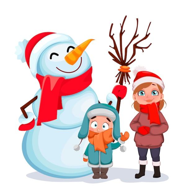 Gelukkige kinderen die zich met sneeuwman bevinden Premium Vector