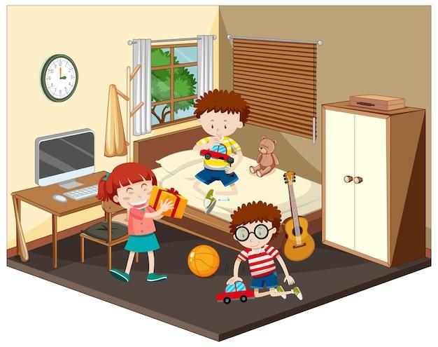 Gelukkige kinderen in de slaapkamerscène in bruin thema Premium Vector
