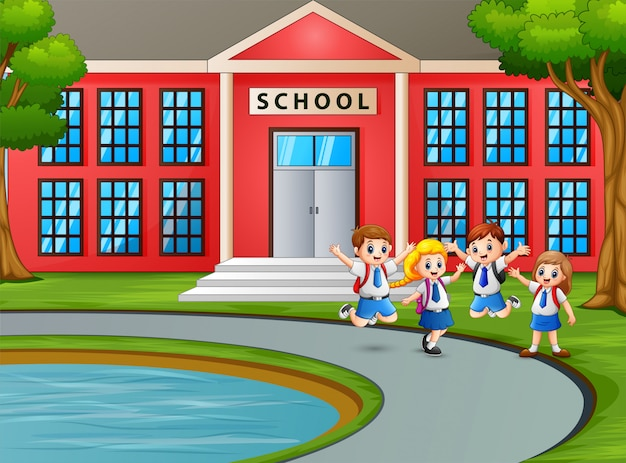 Gelukkige kinderen in uniform met rugzak naar school gaan Premium Vector