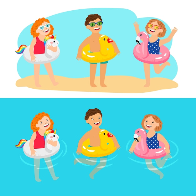 Gelukkige kinderen met zwembadzwemringen. grappige en leuke kinderen met opblaasbare zwembadringen, genieten van zomerse karakters, genieten van kinderen met rubberen dieren reddingsgordels, vectorillustratie Premium Vector
