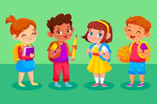 Gelukkige kinderen op hun eerste schooldag Gratis Vector