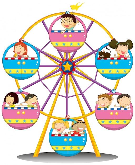 Gelukkige kinderen rijden op het reuzenrad Gratis Vector