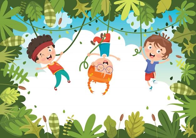 Gelukkige kinderen spelen in de jungle Premium Vector