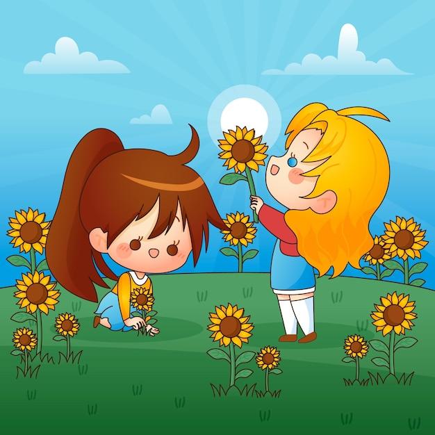 Gelukkige kinderen spelen met zonnebloemen Gratis Vector