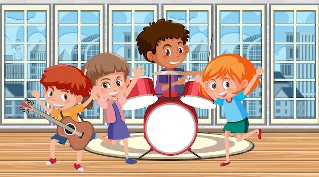 Gelukkige kinderen spelen muziek in de band Premium Vector