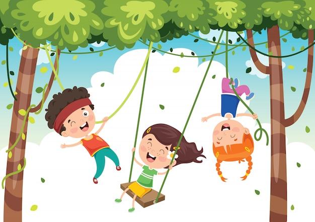 Gelukkige kinderen swingen met wortel touw in de jungle Premium Vector